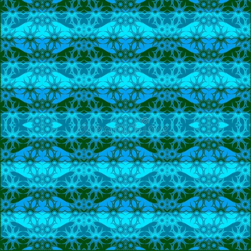 Texture sans couture bleue avec le modèle nautique fleuri illustration libre de droits