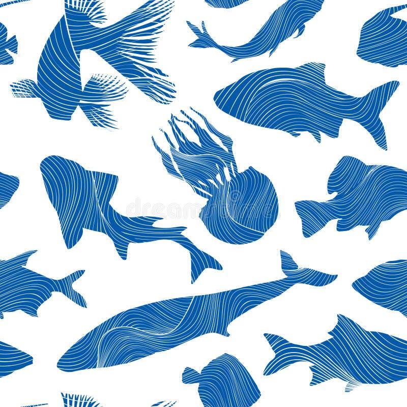 Texture sans couture d'espèce marine Fond de poissons Bagout sous-marin illustration de vecteur