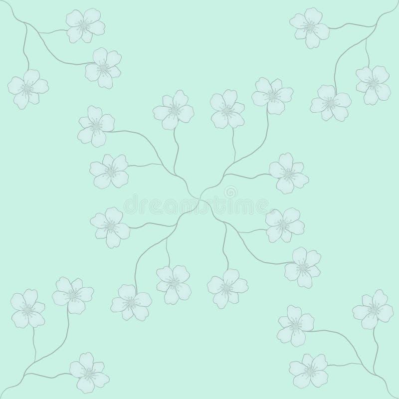 texture sans couture de Bleu-menthe avec les branches et la fleur photographie stock libre de droits