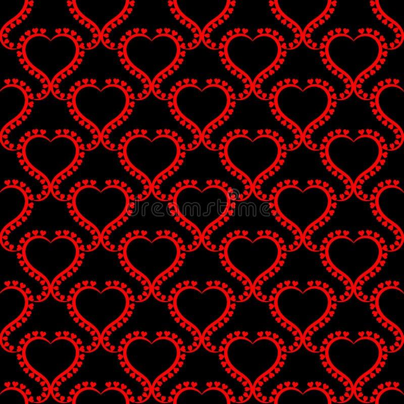 Texture sans couture de coeurs rouges chauds romantiques illustration libre de droits