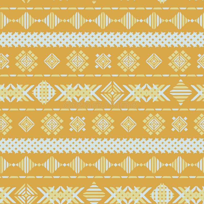 Texture sans couture de fond de vecteur de broderie géométrique jaune illustration de vecteur