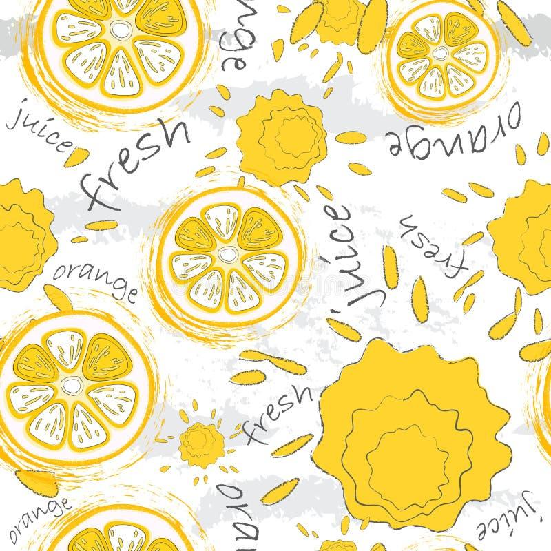 Texture sans couture de griffonnage Orange et éclabousse du jus sur un fond clair Pour les produits biologiques de empaquetage et illustration stock