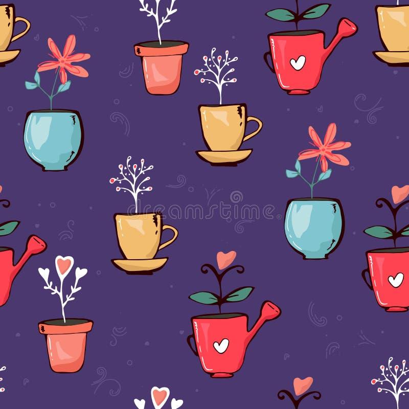 Texture sans couture de modèle d'usines mises en pot colorées lumineuses de fleurs le griffonnage laisse des coeurs sur le fond p illustration stock