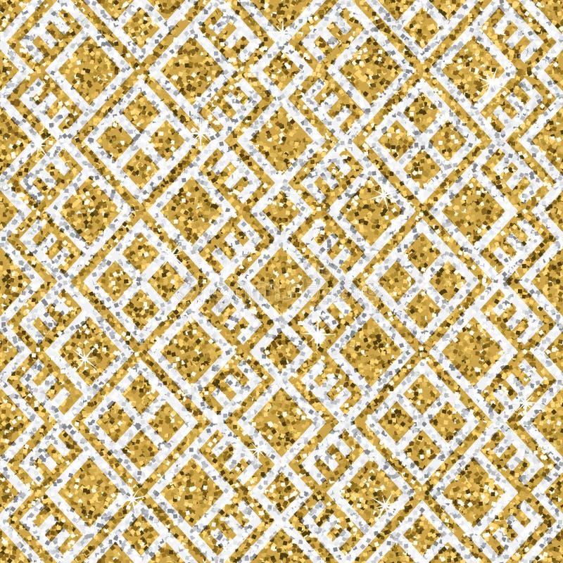 Texture sans couture de scintillement d'or jaune avec l'ornement géométrique argenté Fond de miroitement illustration de vecteur