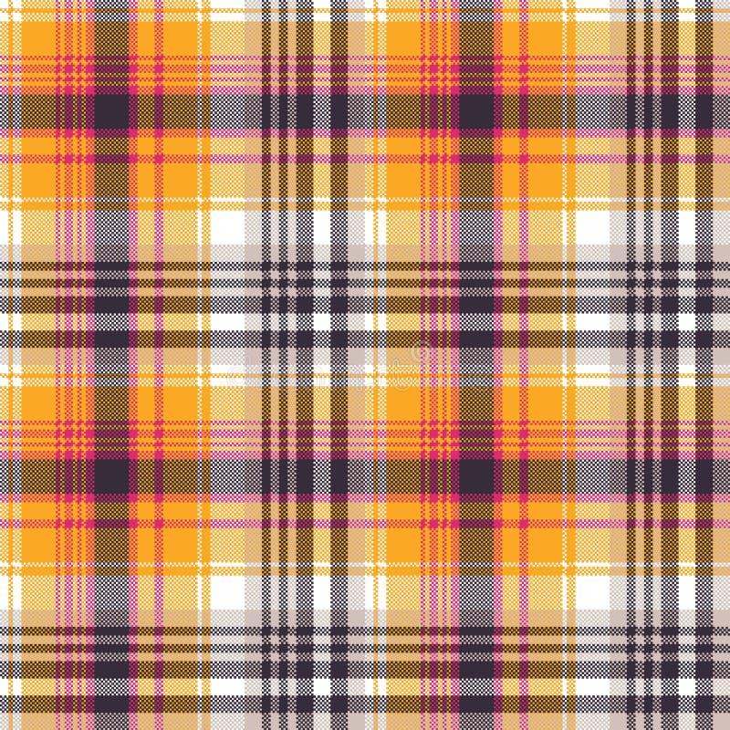 Texture sans couture de tissu de pixel blanc orange illustration de vecteur