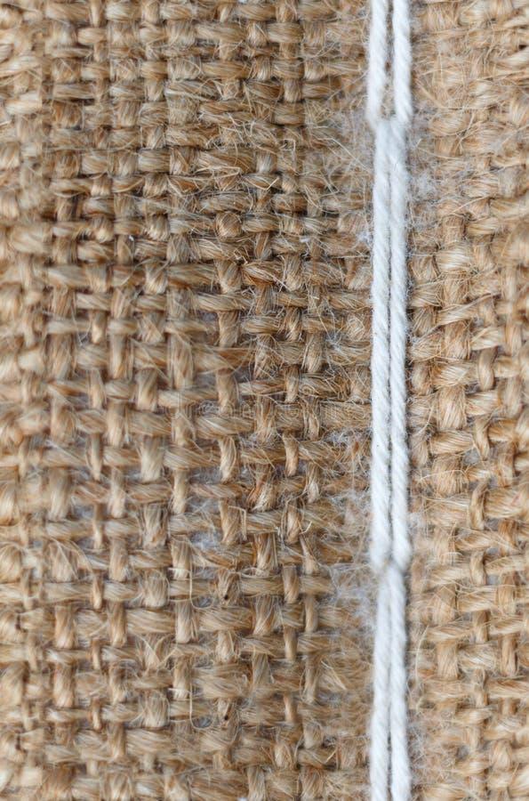 Texture sans couture de toile de jute avec le fil blanc photo stock