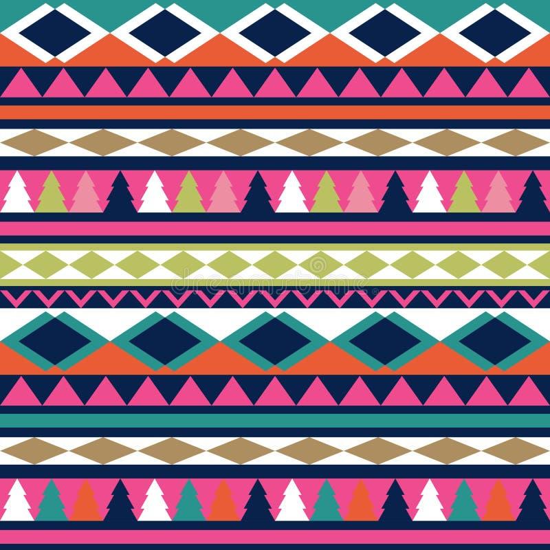Texture sans couture de tribal de vecteur Modèle tribal de vecteur coloré illustration stock