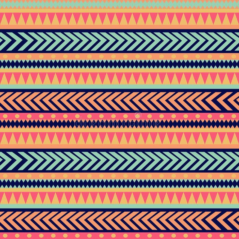 Texture sans couture de tribal de vecteur Modèle tribal de vecteur Modèle rayé ethnique coloré Frontières géométriques Ornement t illustration stock