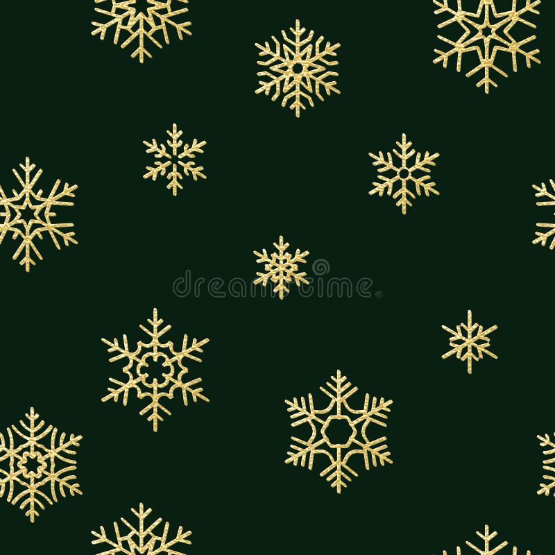 Texture sans couture de vacances, modèle de Noël avec la décoration de flocons de neige d'or pour des textiles, brochure, carte E illustration stock