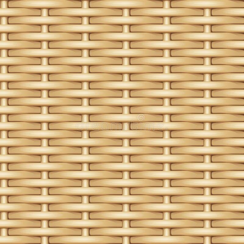 Texture sans couture de vecteur du tissage des tiges identiques légères de saule illustration de vecteur