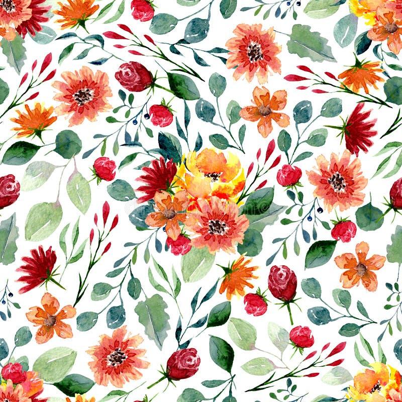 Texture sans couture des fleurs et des feuilles d'aquarelle Copie lumineuse d'automne avec le feuillage et les éléments floraux illustration libre de droits