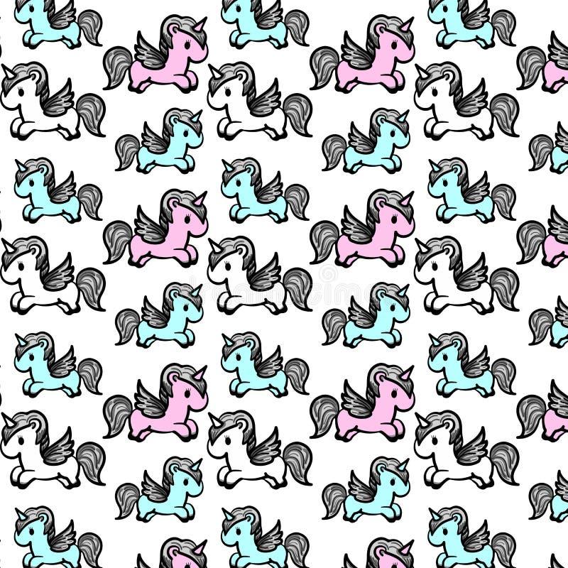 Texture sans couture douce de bande dessinée avec des licornes photos stock