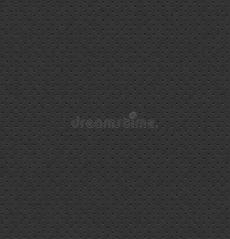 Texture sans couture en cuir perforée gris-foncé de vecteur Fond perforé de charbon de bois réaliste Modèle pointillé de noir Siè illustration stock
