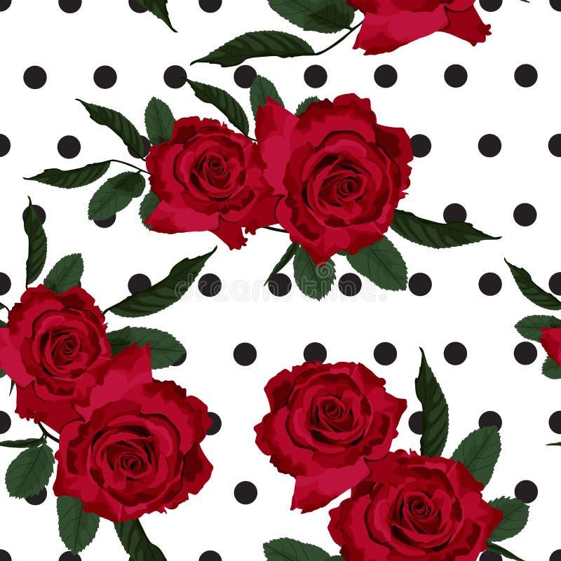 Texture sans couture florale de modèle de rose de rouge illustration stock