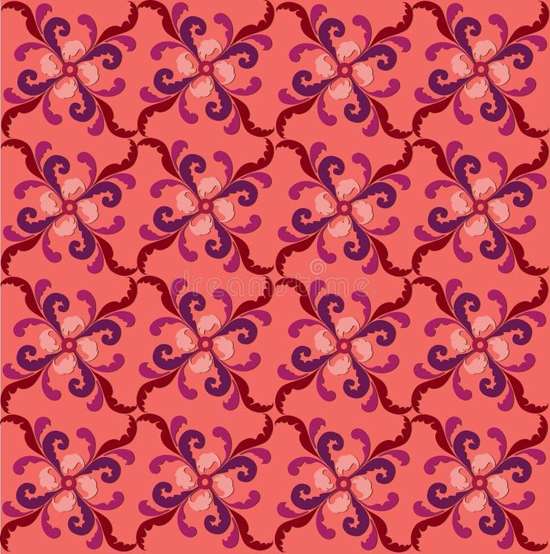 Texture sans couture géométrique florale rose et rouge abstraite illustration de vecteur