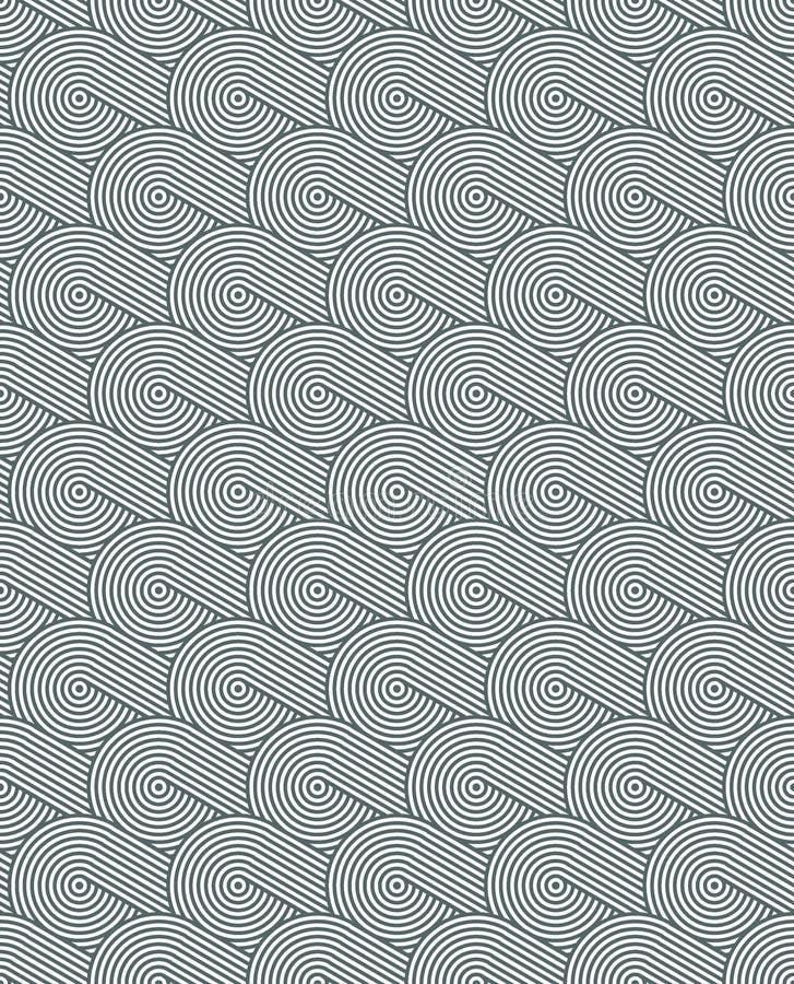 Texture sans couture onduleuse avec les cercles concentriques diagonalement disposés Répétition du modèle géométrique illustration de vecteur