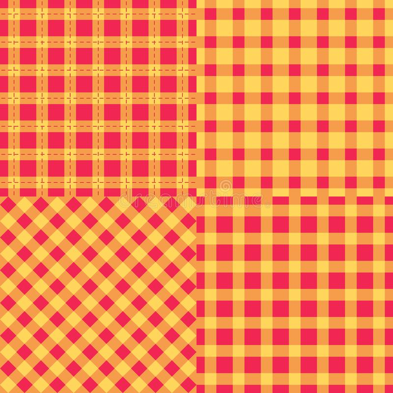 Texture sans couture réglée de tissu de plaid de contrôle de modèle Rouge avec l'illustration orange de vecteur de couleur illustration libre de droits