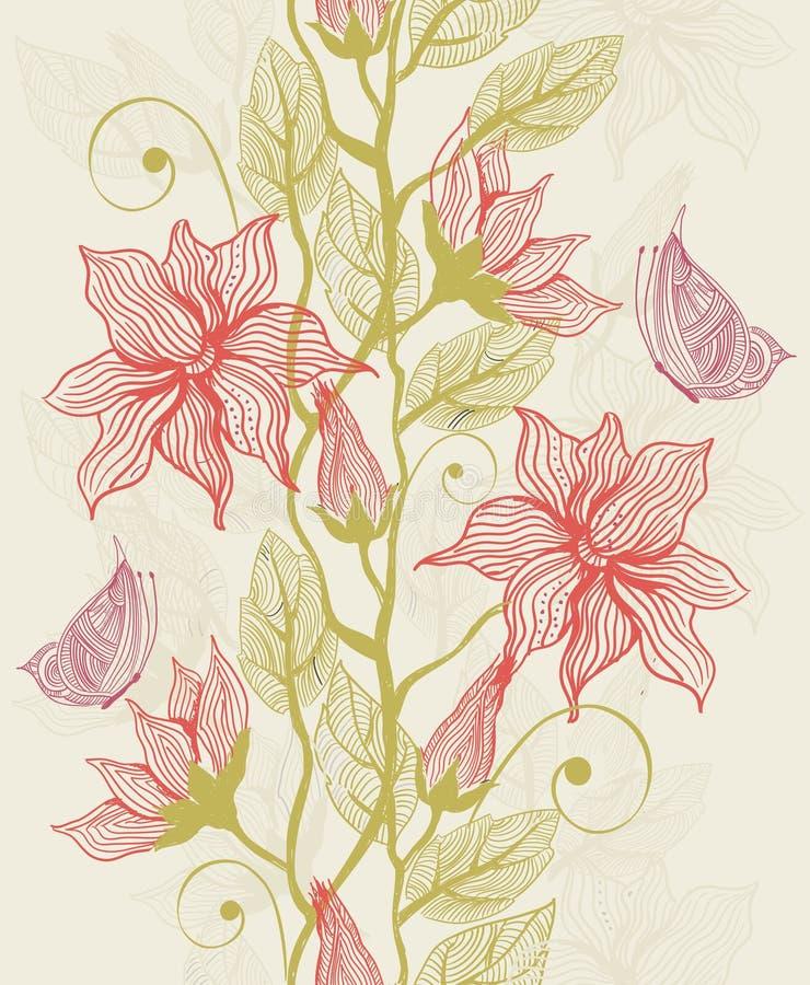 Texture sans joint avec les fleurs et le guindineau illustration stock