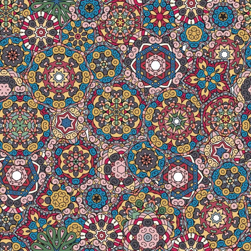 Texture sans joint de configuration Éléments indiens, arabes, turcs de style Carte de vecteur de vintage Illustration tirée par l illustration libre de droits