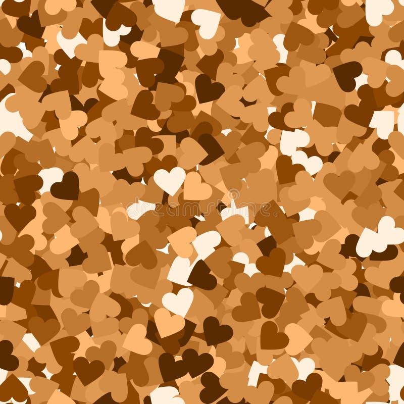 Texture sans joint de scintillement Particules rouges réelles d'or Modèle sans fin fait de coeurs de scintillement superbe illustration de vecteur
