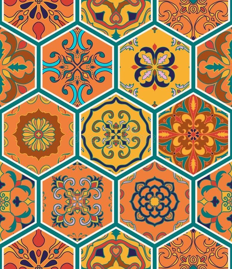 Texture sans joint de vecteur Beau modèle de patchwork pour la conception et mode avec les éléments décoratifs dans l'hexagone illustration stock