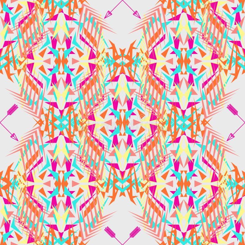 Texture sans joint de vecteur Modèle géométrique tribal avec des flèches Électro tendance de couleur de boho Style ornemental azt illustration libre de droits