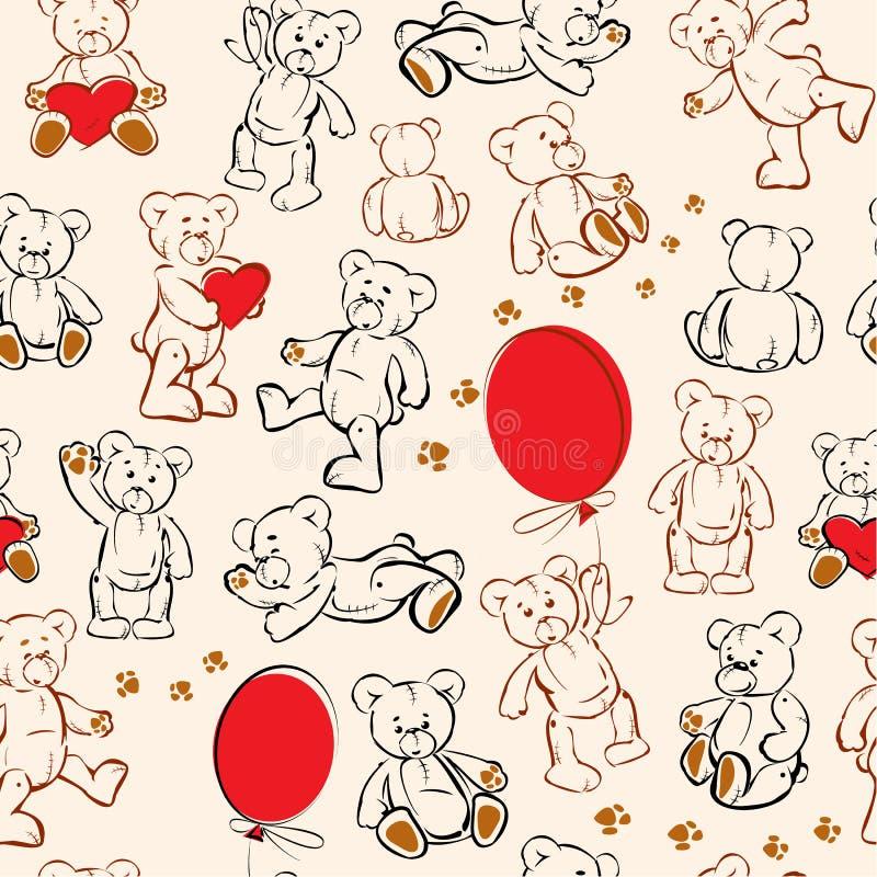 Texture sans joint - ours, coeurs, ballons illustration de vecteur