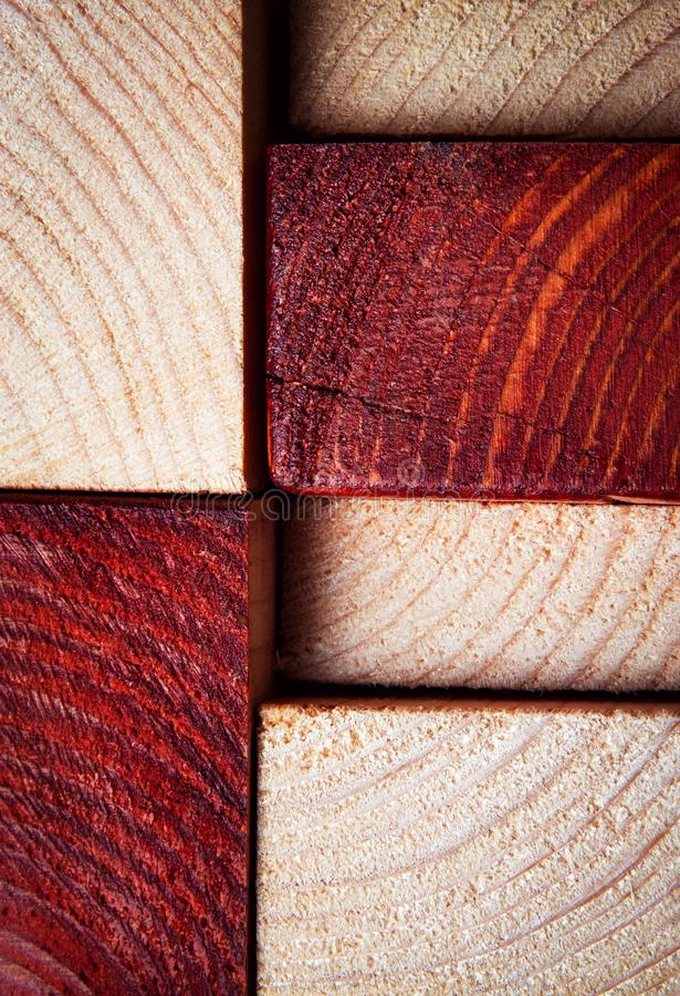 Texture sawn timber from two-color wood. Abstract background or texture sawn timber from two-color wood stock photo