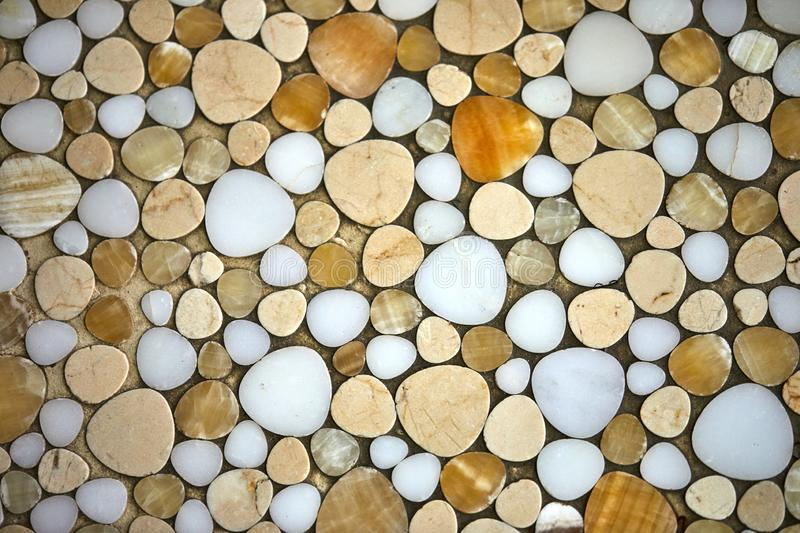Texture of sea stones from white to light brown shades royalty free stock image