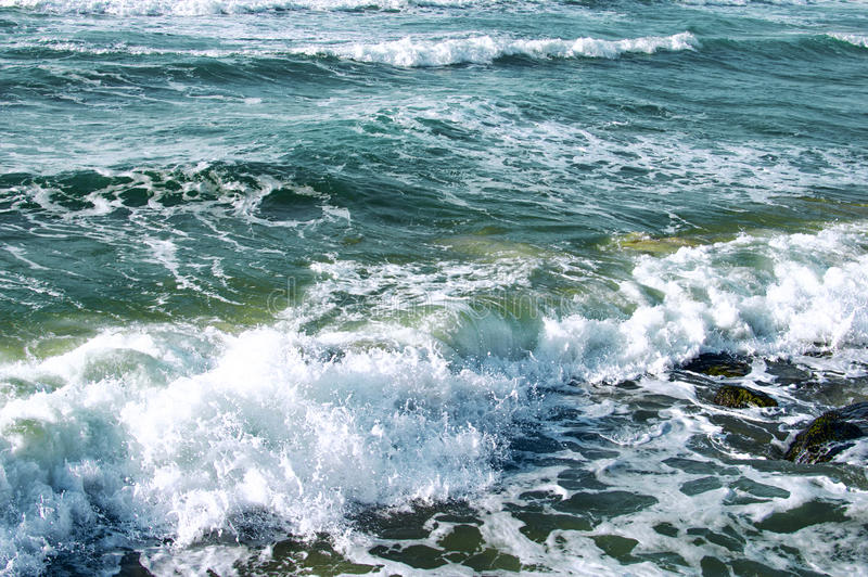 Texture - sea waves during a storm. In the daytime royalty free stock photos