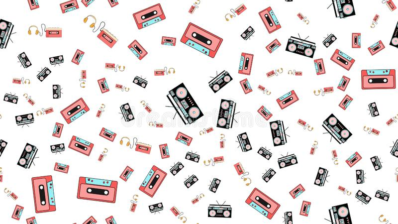 Texture, seamless pattern from audiowder with headphones, old vi royalty free illustration