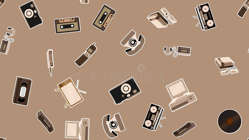 Texture, seamless pattern of old retro hipster electronics stickers, tv recorder mobile phone, player, audio cassette, video stock illustration