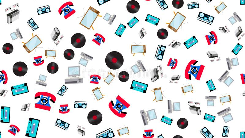 The texture is a seamless pattern of old vintage retro electronics technology from 70`s, 80`s, 90`s stock illustration