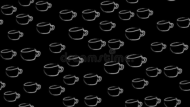 Texture seamless pattern of white cups of mugs with a pen of black coffee drawn in watercolor paints chalk on a black background. stock illustration
