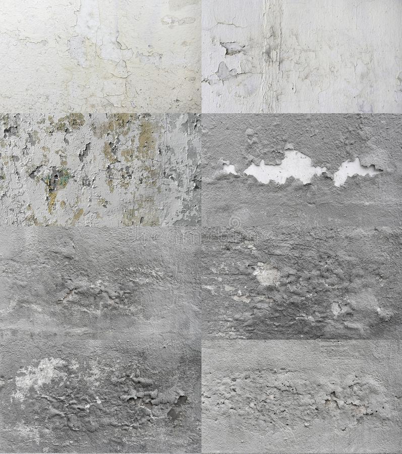 Texture Set Gray Wall with Peeling Paint. For the background. Close up, close up royalty free stock photos