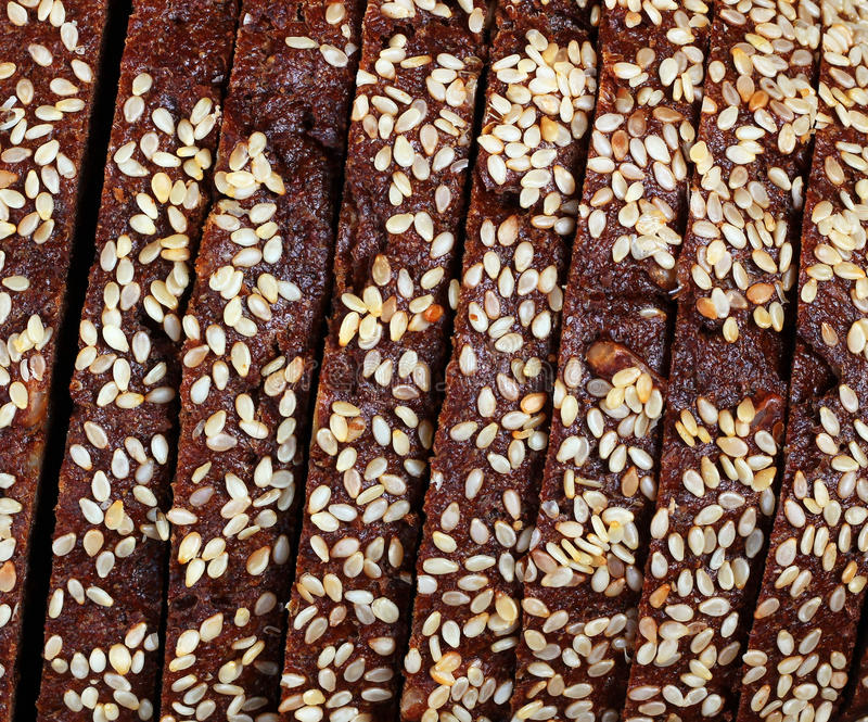 Texture of sliced rye bread with cereals royalty free stock images