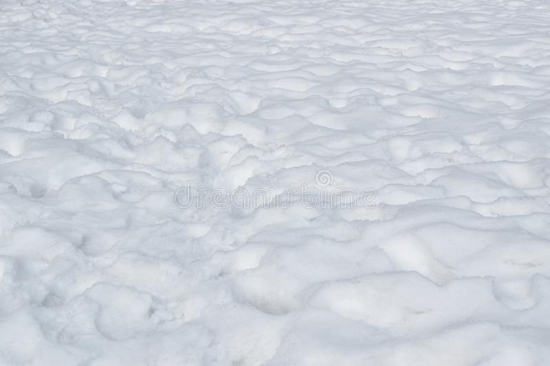 Texture of snow falling on ground in winter at Hokkaido Japan stock photos
