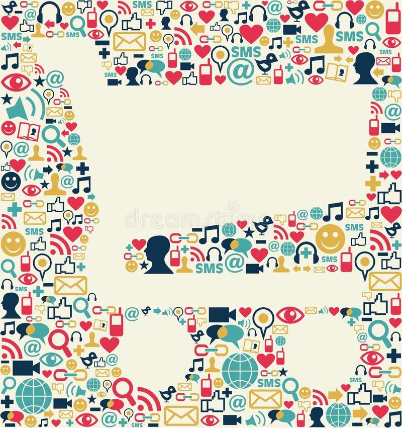 Texture sociale de caddie de medias illustration stock