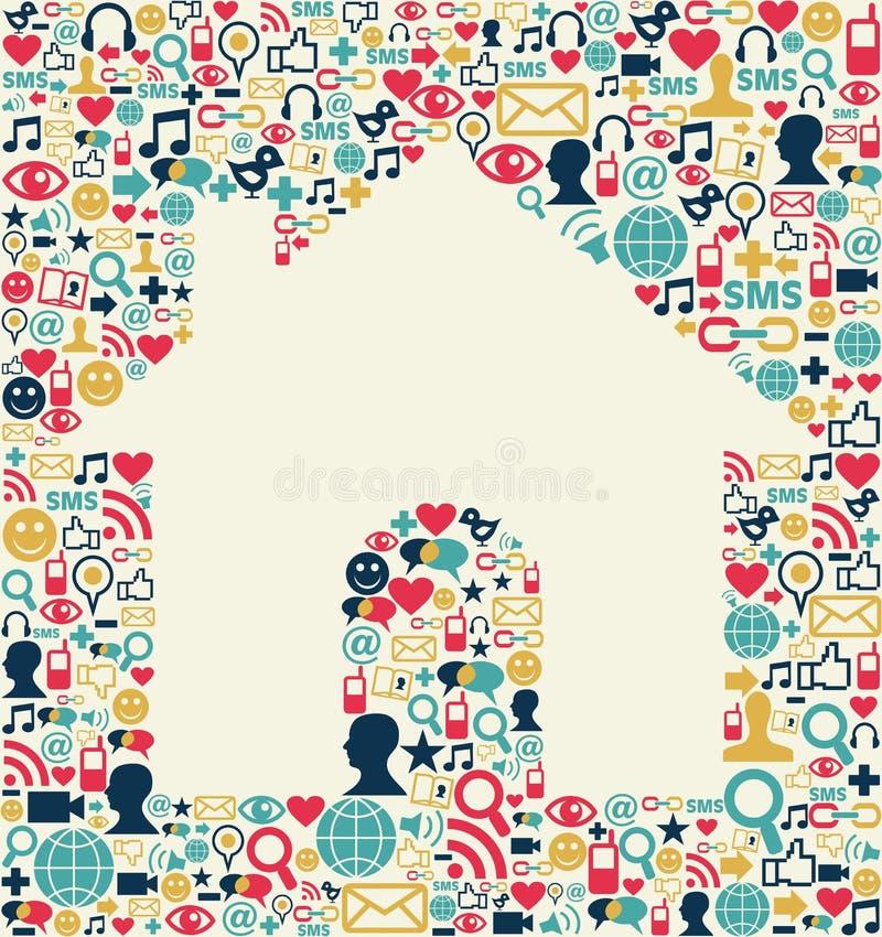 Texture sociale de maison de medias illustration stock