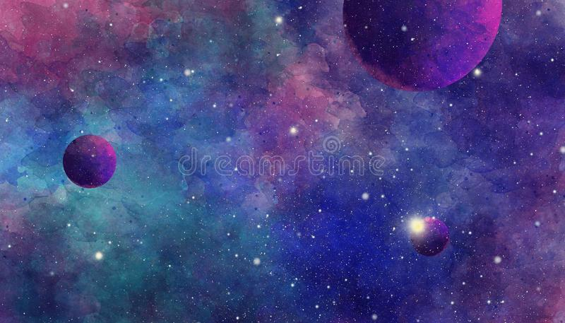 Texture of soft colored abstract watercolor space background vector illustration