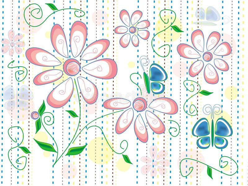 Texture with spring flowers and blue butterflies on white background with brown, blue and yellow lines royalty free illustration