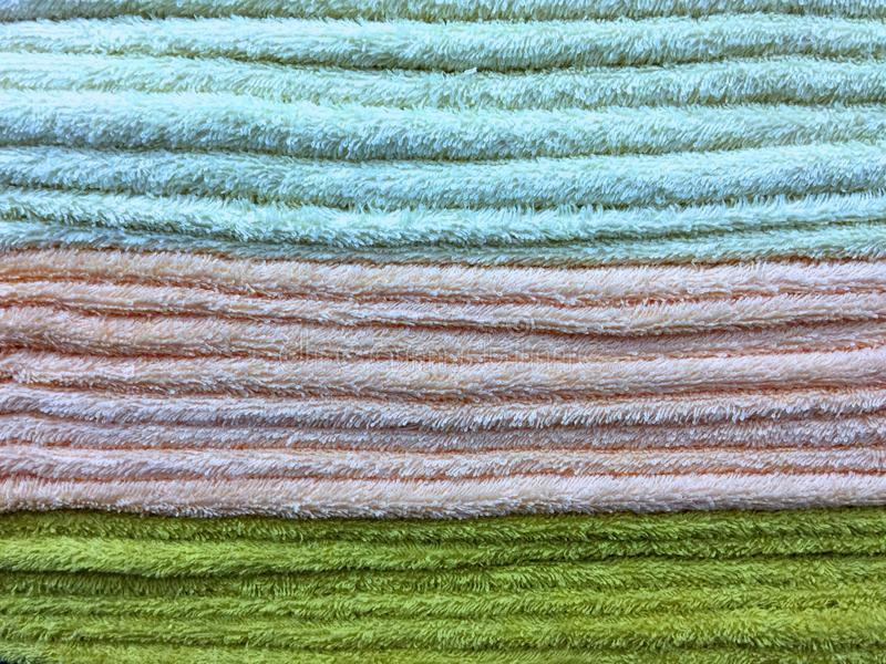 Texture of Stacked Fluffy Towels stock images