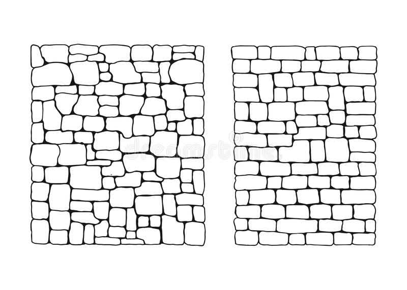 Texture of stones. Stone wall from blocks set vector royalty free illustration