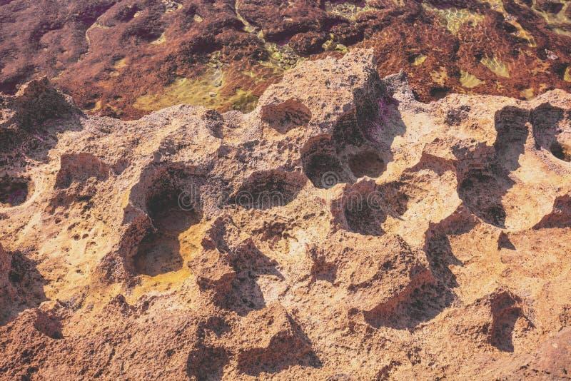 The texture of the stony sea shore. Rosh Hanikra, Israel stock photography