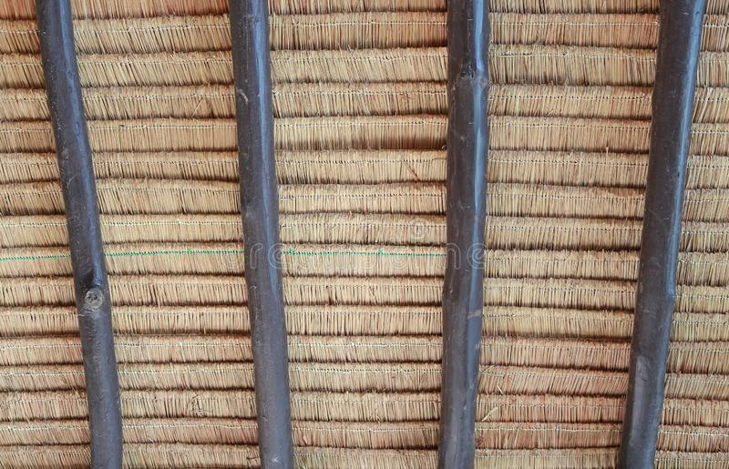A texture of thatch roof at Thailand house.  stock photo
