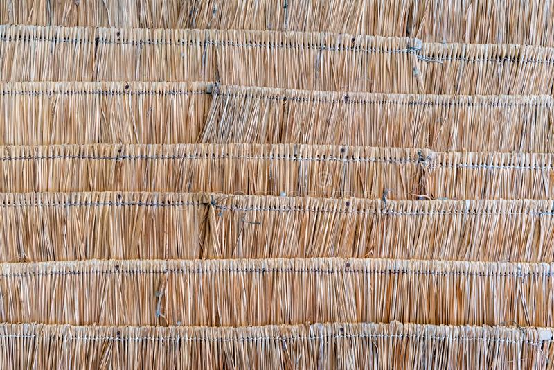 The texture of thatched wicker roof in Asia. Thatch roof background, hay or dry grass. The texture of straws or thatched wicker roof in Asia. Thatch roof stock photography