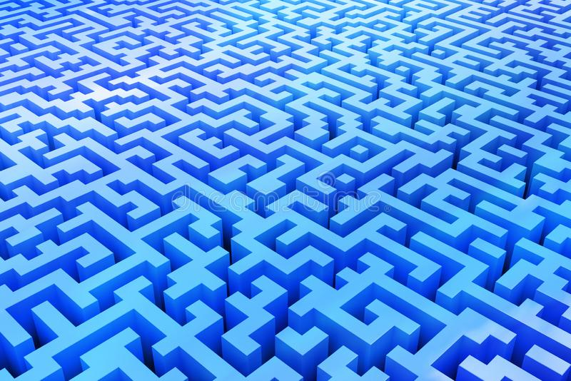 The texture of the three-dimensional model of a complex maze, perspective view to infinity. Three-dimensional labyrinth stock illustration