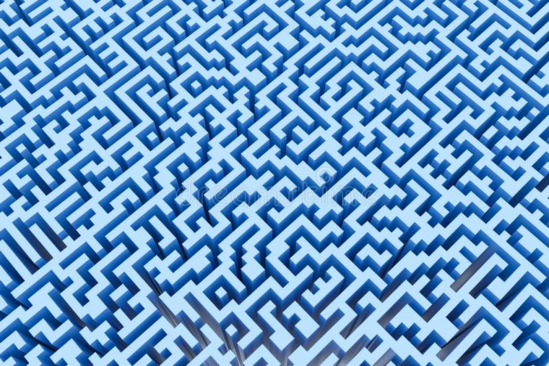The texture of the three-dimensional model of the maze in blue, perspective view vector illustration