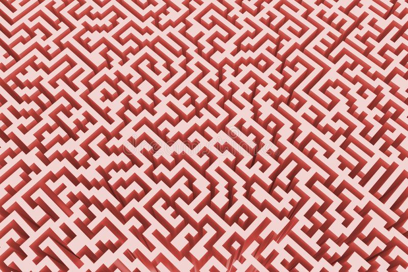 The texture of the three-dimensional model of the maze in pink, perspective view vector illustration