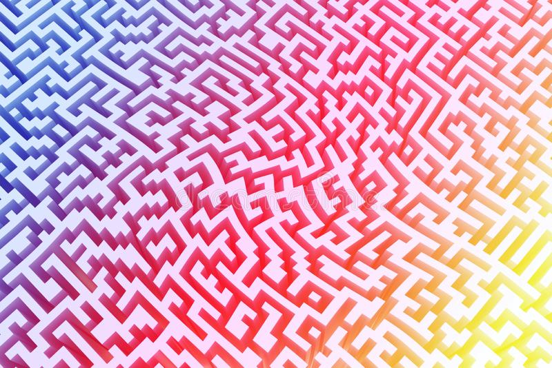 The texture of the three-dimensional model of the maze in psychedelic colors, perspective view. Three-dimensional labyrinth stock illustration